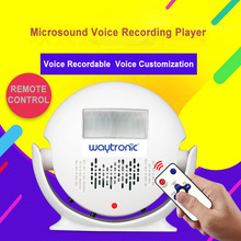 Small Recordable Voice Speaker WAV Sound Recording Player with Infrared Human Body Motion Sensor Alarm Dry Battery Powered
