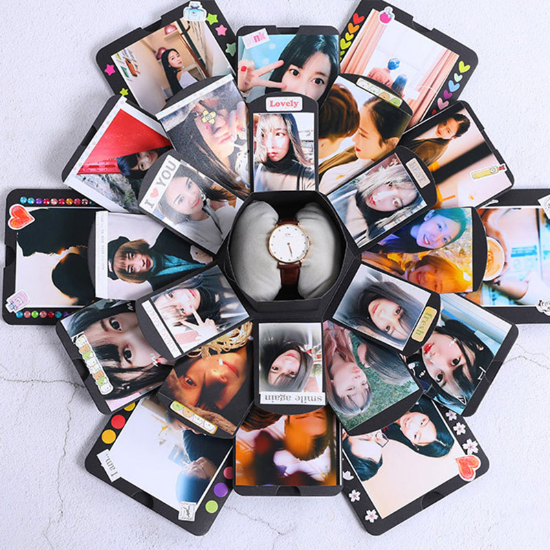 New Diy Handmade Creative Albums Romantic Souvenir: DIY Handmade Photo Album Hexagonal Explosion Box 12