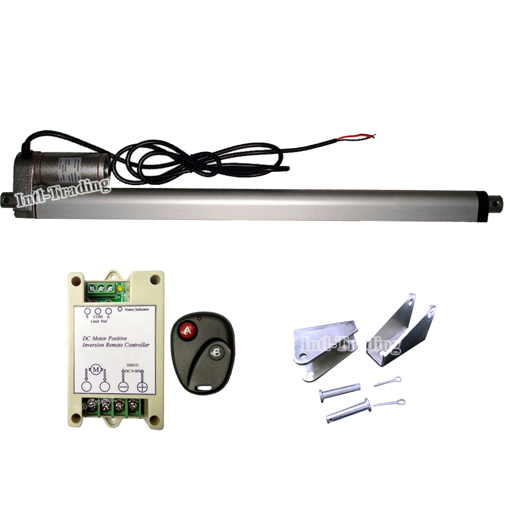 DC 12V Volt 220lbs 400mm 16Inch Stroke Linear Actuator Motor Remote Brackets Multi function for Electric