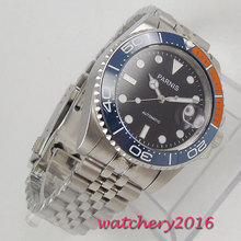 40mm Parnis Mechanical Watches Blue Orange Ceramic Bezel black dial luminous marks sapphire glass automatic Mens Watch