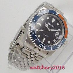 40mm Parnis mechaniczne zegarki niebieski pomarańczowy ceramiczny Bezel czarna tarcza świecące znaki szafirowe szkło automatyczny męski zegarek