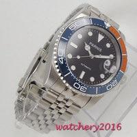 40mm parnis relógios mecânicos azul laranja cerâmica moldura mostrador preto marcas luminosas vidro de safira relógio automático masculino