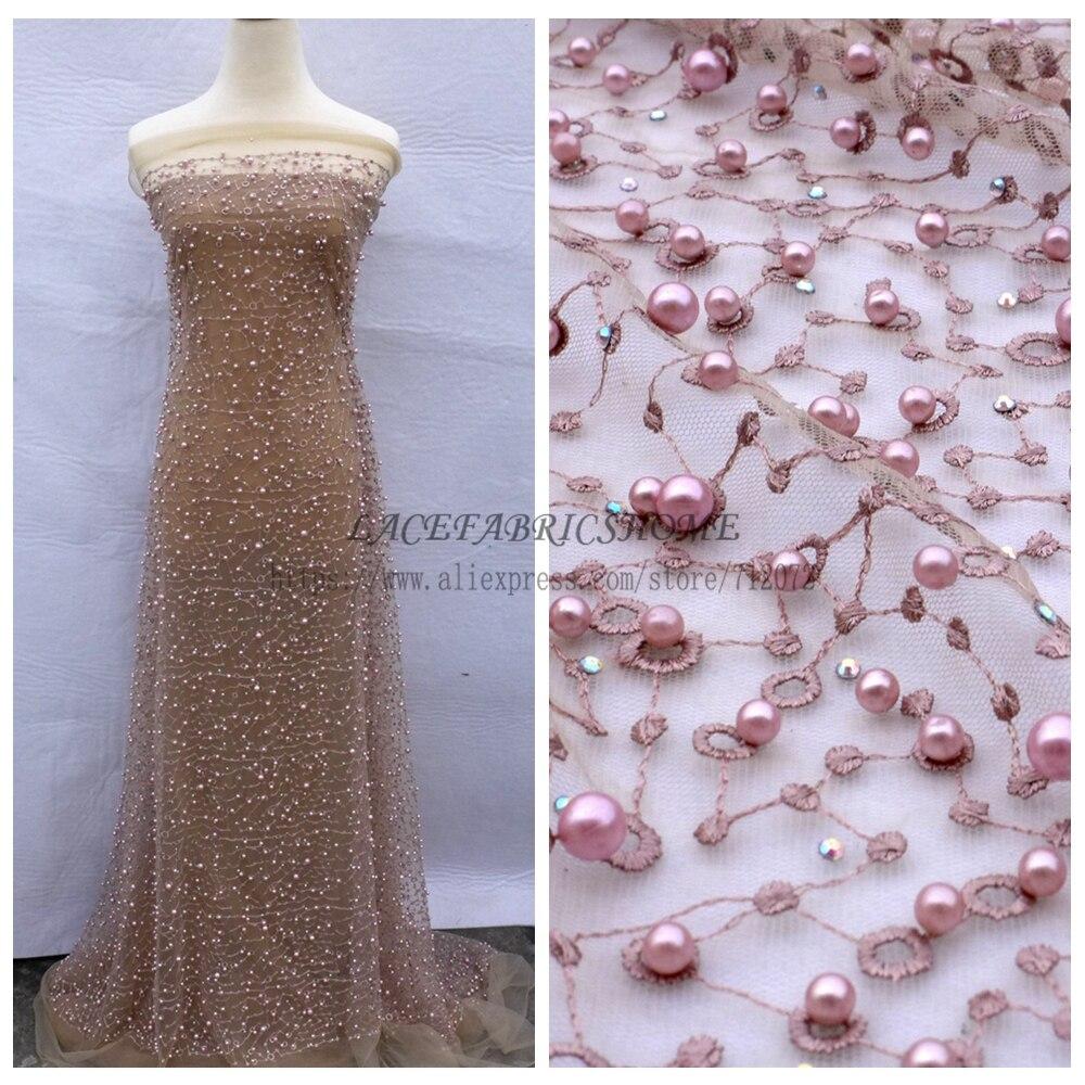 La Belleza тяжелый розовый/серый/бежевый/зеленый/off white камни pealre на чистой вечернее платье кружевной ткани 1 ярд