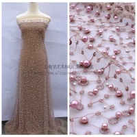 Heavy Pink Gray Beige Green Off White Stones Pealre On Net Evening Dress Lace Fabric 51