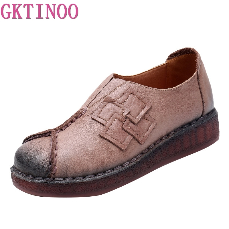GKTINOO 2019 New Women's Handmade Shoes Genuine Leather Flat Mother Shoes Woman Loafers Soft Single Casual Flats Shoes Women