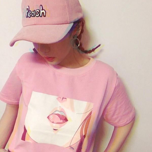 HTB1NKCfLXXXXXb5XFXXq6xXFXXXU - 2017 Lip Sexy TShirt Kawai Korea Harajuku Printed Women Pink