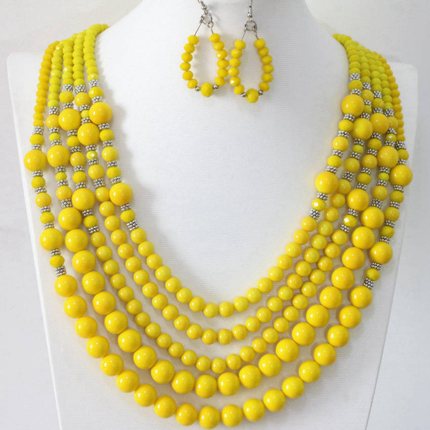 Free shipping yellow baking paint glass round abacus beads original diy 5 rows earrrings necklace jewelry set for women B983-19