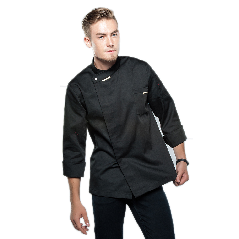 New Black White Chef Jacket Uniforms Long Sleeve Hotel Cook Clothes Food Services Frock Coats Work