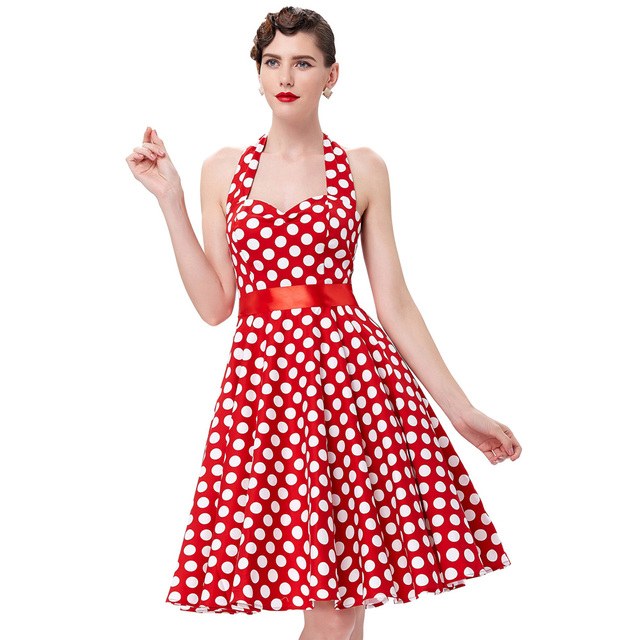 Swing Tea Party Dress Sleeveless Polka Dot Print Casual Summer Women Halter Vintage 1950s