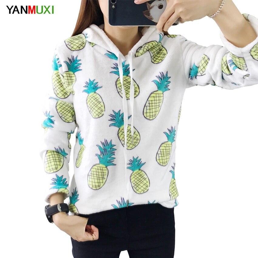 Cartoon Pineapple Banana Print Sweatshirt Long Sleeve Casual Women Pullovers White Round Neck Cute Sweatshirt for Women Hoody