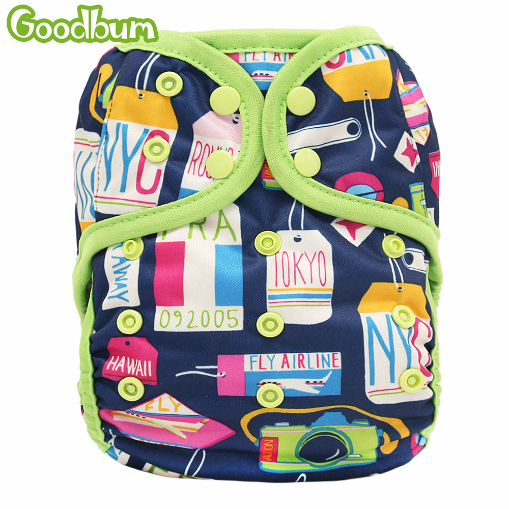 Goodbum1PC Washable Adjustable Cloth Diaper Cover Double Gusset PUL Baby Nappy Suit 3-15kgs Cartoon Print