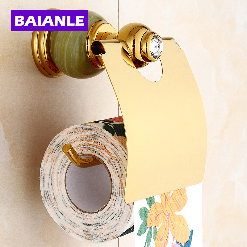 Free Shipping Jade & Brass Golden Paper Box Roll Holder Toilet gold Paper Holder Tissue Box Bathroom Accessories space aluminum paper holder roll tissue holder hotel works toilet roll paper tissue holder box waterproof design