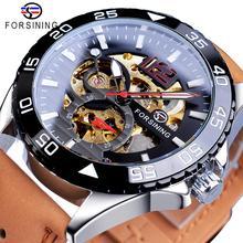 Forsining 2019 Hot Koop Mechanische Horloge Mannelijke Automatische Creatieve Half Kleur Bruin Lederen Riem Paar Horloges Relogio Masculino