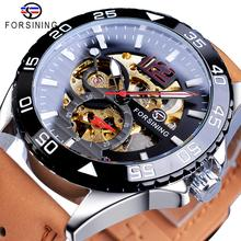 Forsining 2019 Hot Sale Mechanical Watch Male Automatic Creative Half Color Brown Leather Belt Couple Watches Relogio Masculino