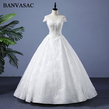 BANVASAC 2018 Real Photos V Neck Plus Size Ball Gown Wedding Dresses Short Sleeve Lace Appliques Bridal Gowns