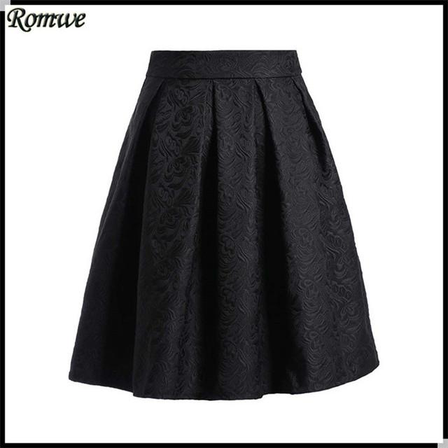Romwe 2015 alta moda para mujer marcas de diseño de nueva mujeres negro hasta la rodilla barato una línea elegante falda de gasa