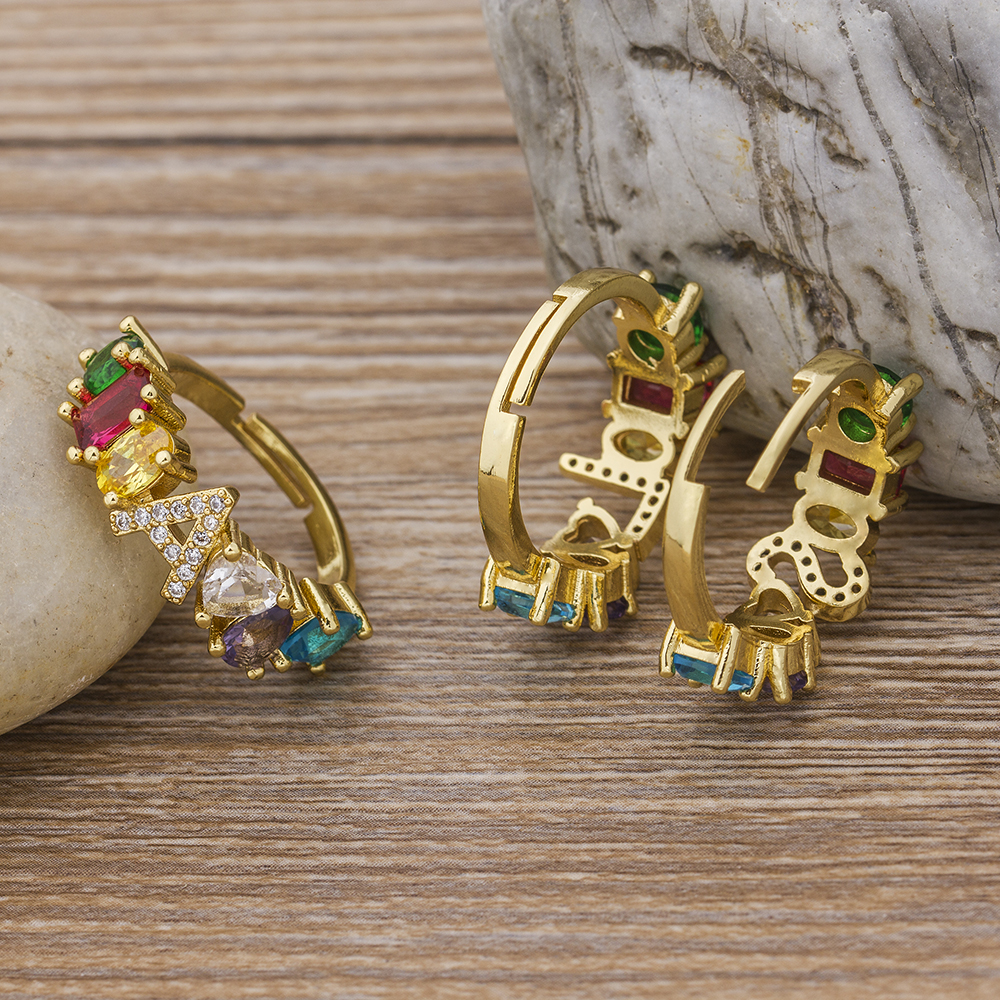 Hot Sale Adjustable A-Z Initial Ring Bohemian Copper Zircon  Rainbow Letter Rings for Women Girls Party Wedding Jewelry Gift 4