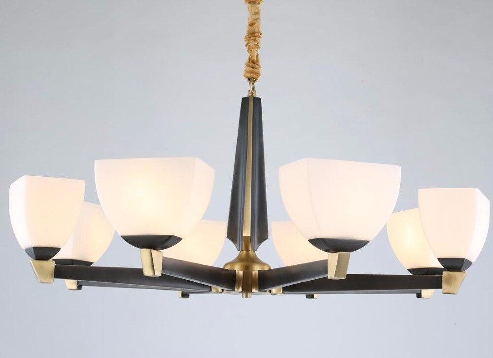 Lustre moderne en cuivre Bronze véritable pour chambre à coucher salle à manger salon abat-jour en verre lustre noir luminaires BLC100