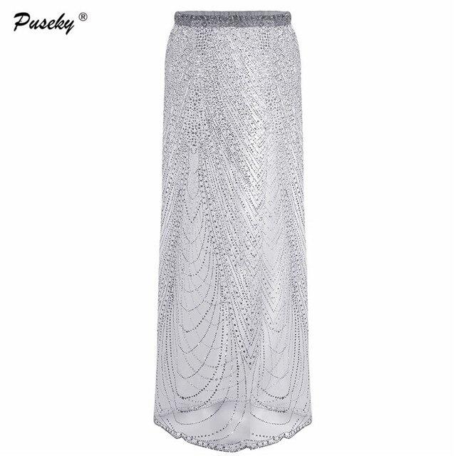 f5d7fad4e Women Elegant Beach Summer Skirt Chic Long Maxi Beachwear Fashion Sparkling Sequin  Maxi Skirt Ladies Sexy