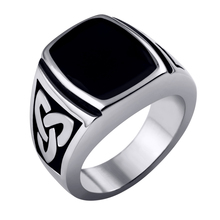 Stainless Steel Ring Black Silver Ring Knot Signet Rings Size 7-15 Width 17mm wedding rings men-free shipping