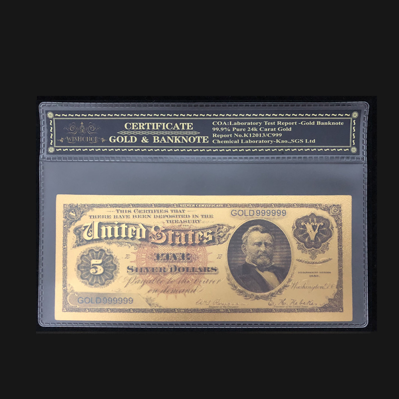 1886 Year 5 Dollar Colorful Gold Banknote 24k Gold Foil Bill Note with Sleeve