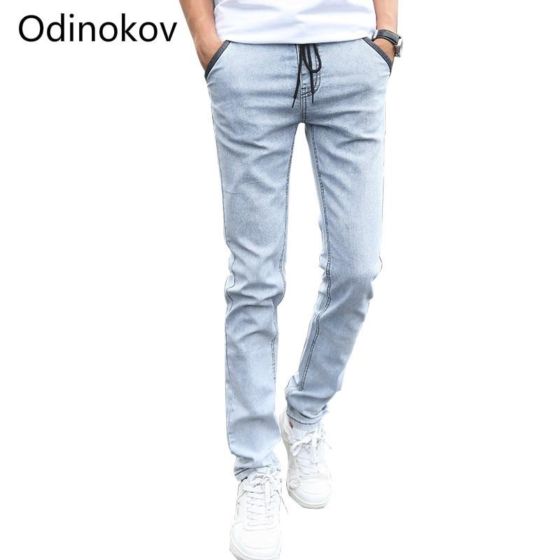 Mens Denim Jeans Men Drawstring Slim Fit Denim Joggers Men Stretch Pockets Jean Pencil Pants Casual Blue Jeans Man Big Size 38