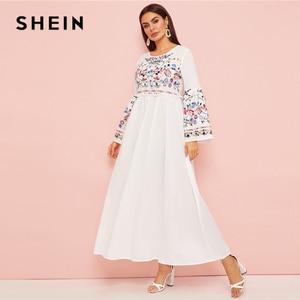 Image 3 - SHEIN Abaya Flower Embroidered Frilled Trim Bell Sleeve Dress Women Spring Autumn Maxi White Dress Loose A Line Elegant Dresses