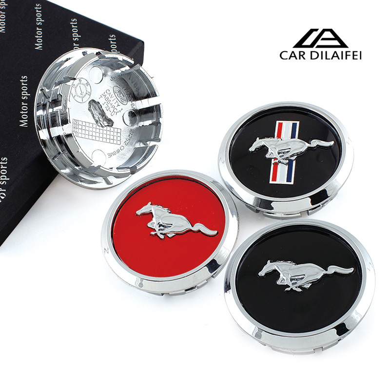 4 Pieces For Mustang Pony Shelby GT Running Horse Car Hubcaps Hub Wheel Centre Center Caps 68mm Black ABS Cover