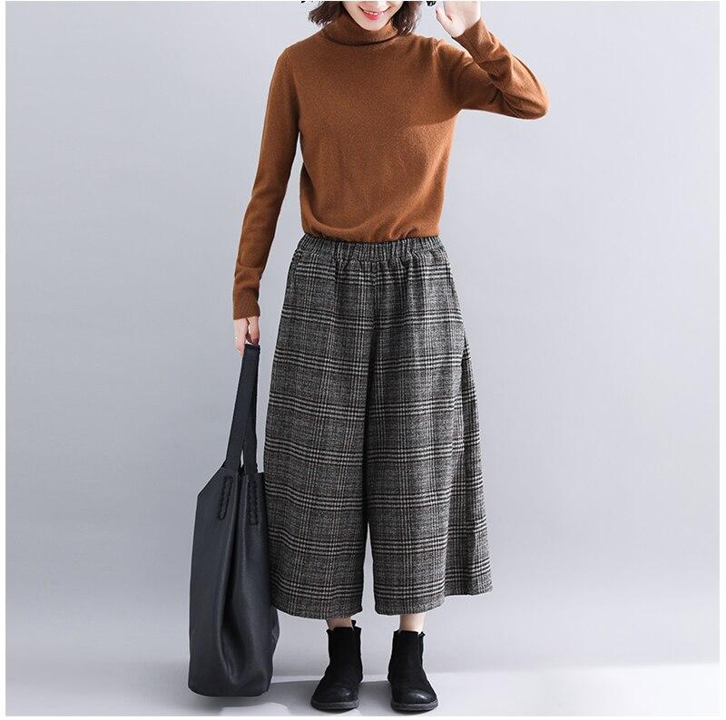 Plus Size Women Wide Leg Pants Autumn Harem Pants Plaid Casual Vintage Korean 2018 Oversize New Elastic Waist Woolen Pants 6