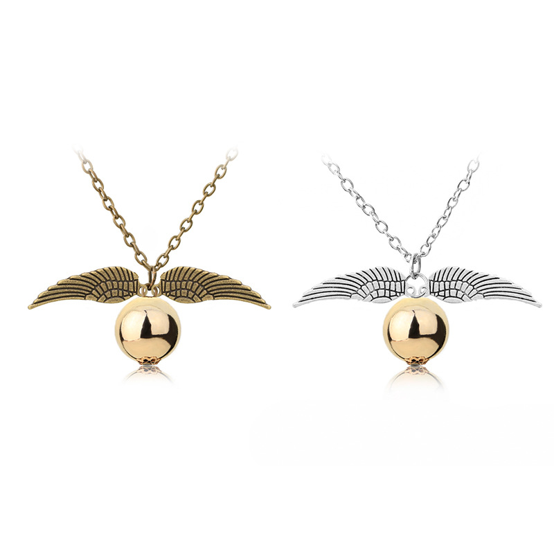 BRAND NEW IN BAG SILVER PLATED GOLDEN SNITCH HARRY POTTER STYLE NECKLACE CHAIN