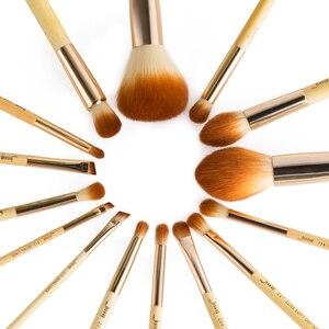 Image 3 - جيسوب الخيزران ماكياج فرش 15 قطعة pincel maquiagem عينيه المخفي مسحوق كحل هيغليغتر طقم أدوات تجميل الاصطناعية T142