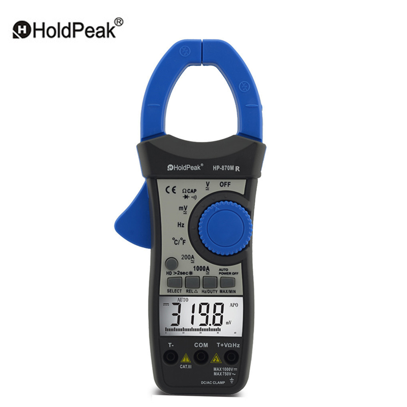 Holdpeak HP-870MR True RMS Auto Range Digital Clamp Meter Tester DC AC Current Voltage Multimeter Data Hold Temperature Tester