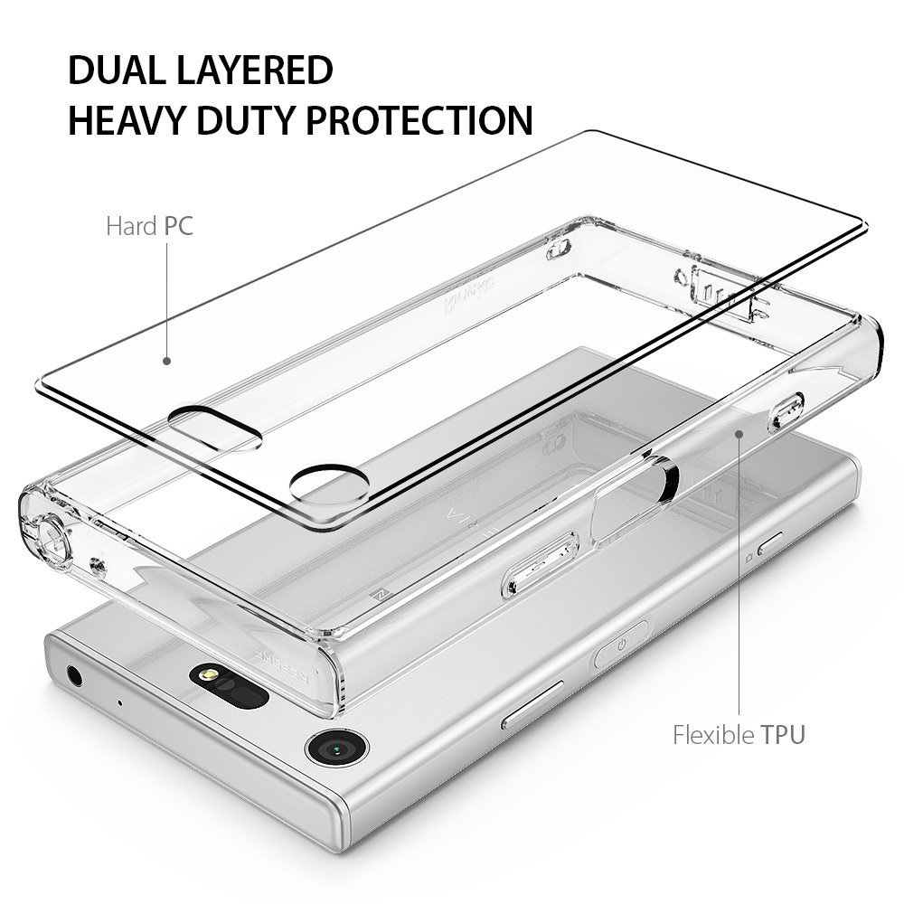 Image 4 - Ringke Fusion Case for Sony Xperia XZ1 Compact Transparent PC Back TPU Bumper Built in Dust Plug Drop Resistance Hybrid Cases-in Fitted Cases from Cellphones & Telecommunications