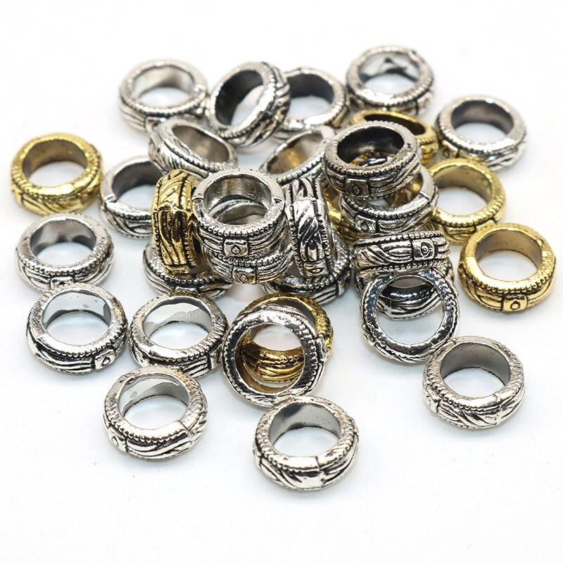 50pcs 10mm Tibetan Alloy Donut Metal Beads Large Hole Nickel Free Loose Spacers