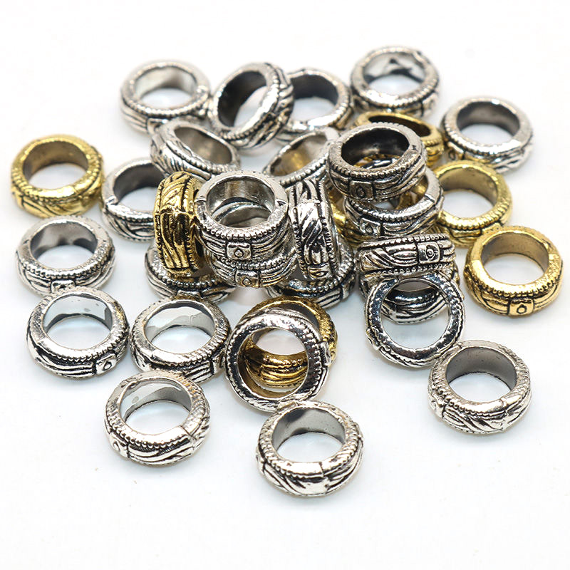 35 Stunning Chunky Round Spacer Silver 9mm *Large 5mm hole *Free P/&P*