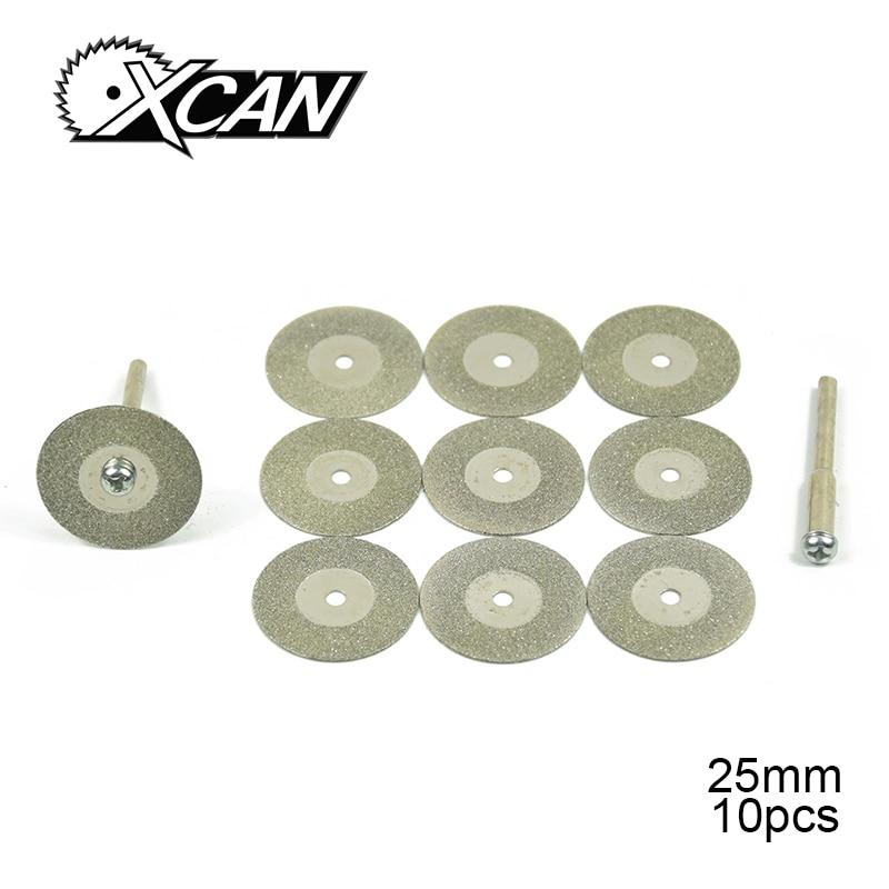 XCAN 10pcs 16-60mm blades 2pcs rod Mini Diamond Grinding wheel Bur grinder multitool blades circular saw blade for plastic цена