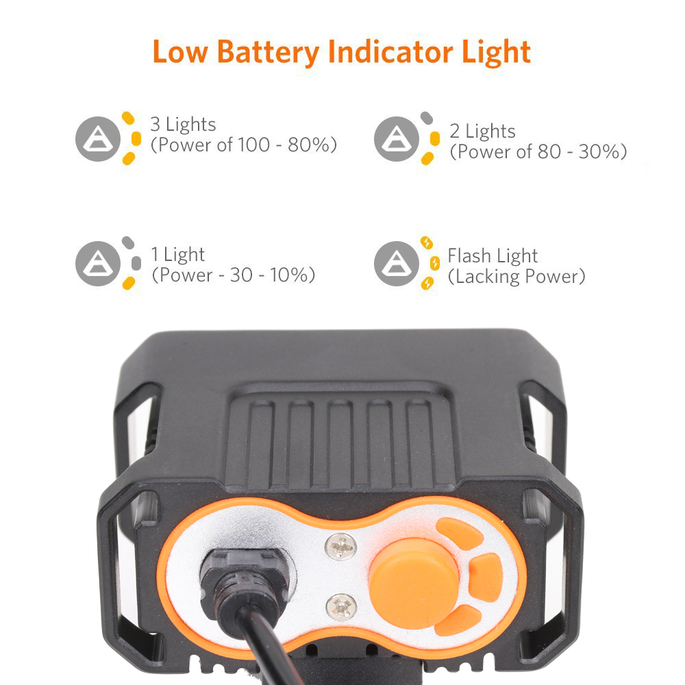 8.4v Battery Pack Bicycle Front Light XM-L2 LED Bike Light Headlight 6000 Lumens Rechargeable Mountain Cycling Frame Lamp 4 Mode