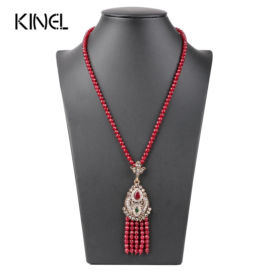 Luxury Africa Bead Long Tassel Pendant Necklace Women Turkish Antique Gold Color Red Crystal Sweater Indian Bijoux 2017 New in Pendant Necklaces from Jewelry Accessories