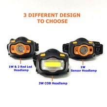 Mingray Sensor Headlight 3W COB aaa battery 3 molds red LED light  Headlamp Portable Lamp Camping fishing Flashlight on head цена