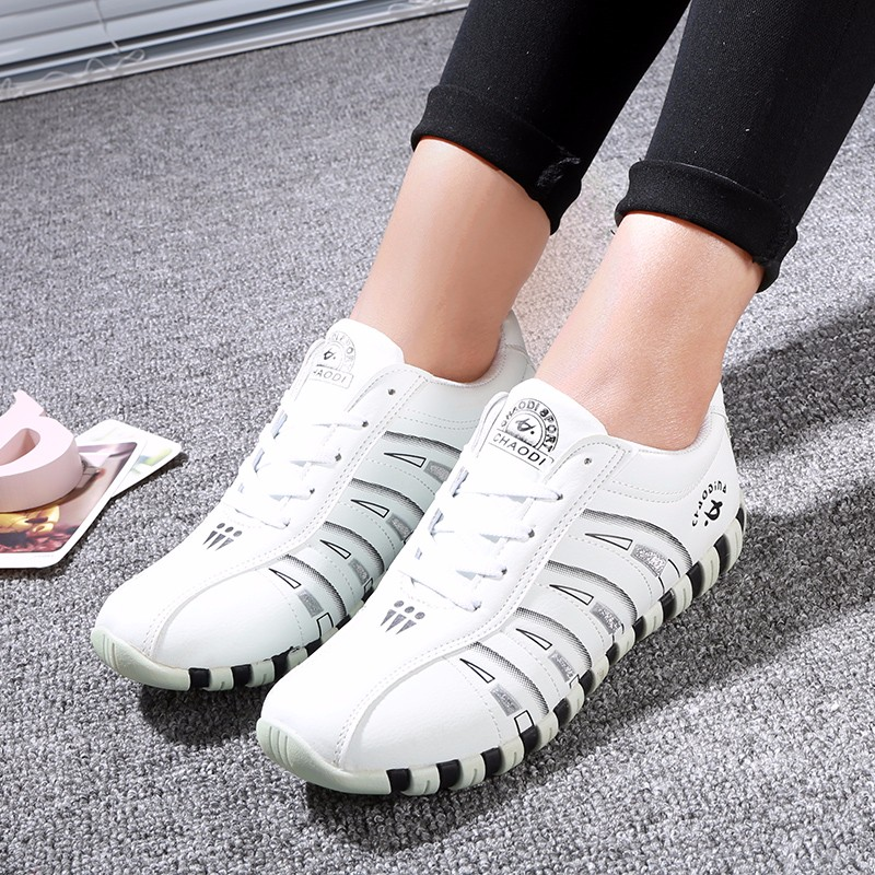 KUYUPP Fashion Breathable Leather Women Casual Shoes Lace Up Woman Trainers Outdoor Women Low Toe Shoes Zapatillas Mujer YD122 (42)