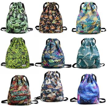 Drawstring Bag Women Fashion Cinch Sack Swimming Bag Floral Storage Drawstring Backpack Beach Travel Bags School Bags for Girls 1