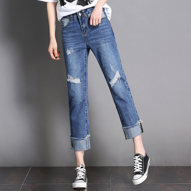 7765a6afe667 Women straight jeans pants summer casual ladies ripped loose fit cropped  jeans female fashion distressed denim jeans trousers