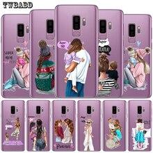 Модный чехол для телефона с изображением суперпапы мамы и дочки для samsung Galaxy S9 S8 S10 Plus S7 S6 Edge S10 Lite Note 8 9 Funda Etui