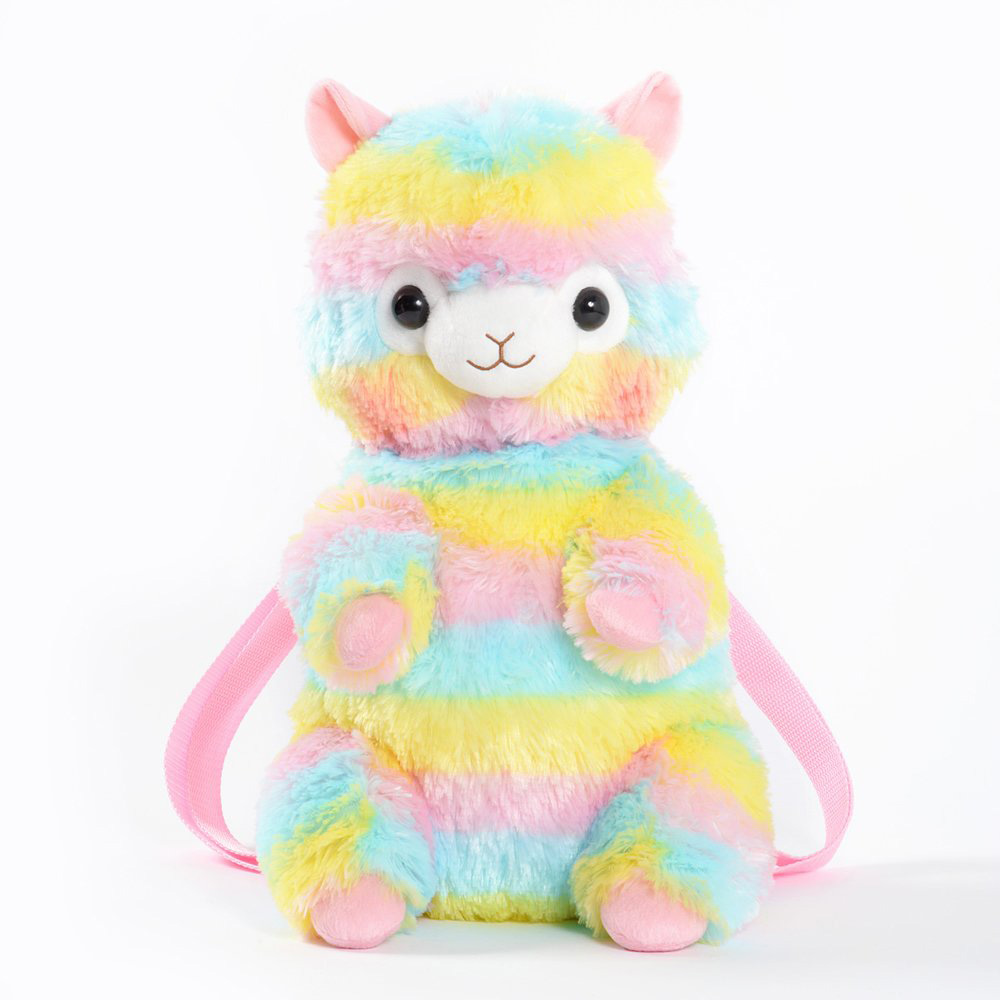 Candice guo! Super cute plush toy lovely cartoon rainbow Arpakasso alpaca stuffed doll soft backpack bag birthday Christmas gift candice guo nici plush toy stuffed doll cute cartoon animal little fairy ayumi be you girl theme bedtime story birthday gift 1pc