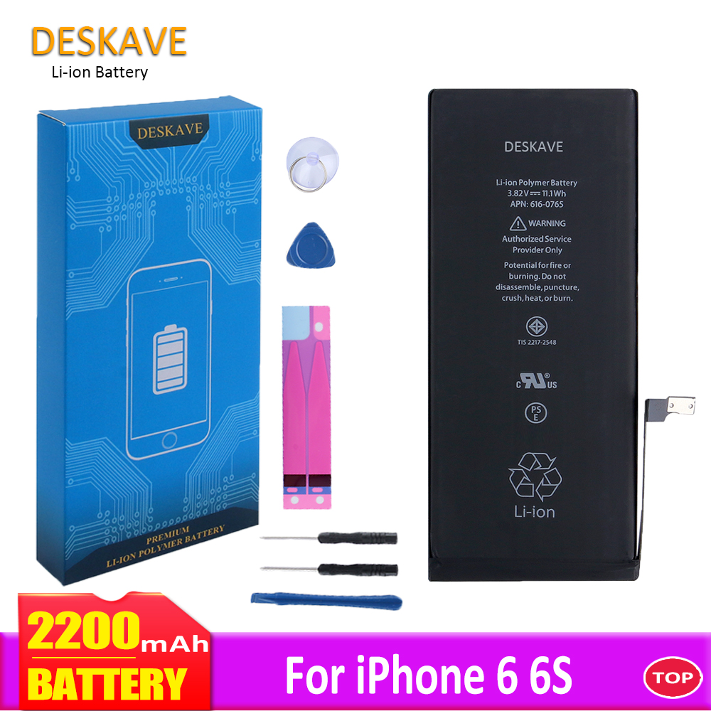 Mobile Phone <font><b>Battery</b></font> For <font><b>iPhone</b></font> 6 <font><b>6S</b></font> <font><b>Batteries</b></font> Replacement Batterie Real <font><b>High</b></font> <font><b>Capacity</b></font> 2200mAh Internal Bateria For <font><b>iPhone</b></font> 6 <font><b>6S</b></font> image