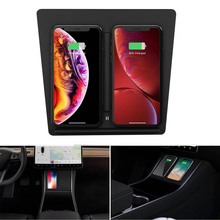2019 tesla model 3 Car phone wireless charger with Dual USB Ports Phones Center Console Charging for iPhone X XS XR 8 8PLUS
