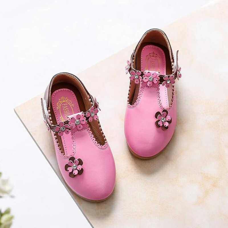 Baby Girl leather shoes Princess shoes Autumn New Girl flats children single shoes diamond girls Shoes SIZE 21-36 B139