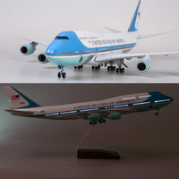 47CM Airplane Model Toys Boeing 747 Air Force One Aircraft Model W Light and Wheel 1/150 Scale Diecast Plastic Resin Alloy Plane