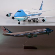 47CM Airplane Model Toys Boeing 747 Air Force One Aircraft Model W Light and Wheel 1/150 Scale Diecast Plastic Resin Alloy Plane цена