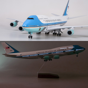 цена на 47CM Airplane Model Toys Boeing 747 Air Force One Aircraft Model W Light and Wheel 1/150 Scale Diecast Plastic Resin Alloy Plane